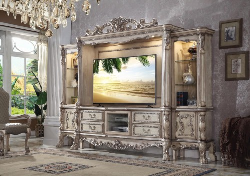 91470 Entertainment Center Vintage Bone White Finish Dresden Collection by Acme Furniture