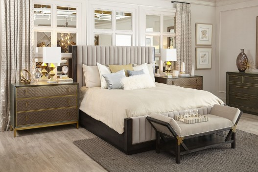 Woodwright Espresso Finish Mullholland Upholster Bed by A.R.T. Furniture