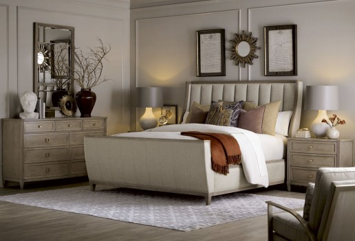 City Scapes Chelsea Upholstered Shelter Sleigh Bed by A.R.T. Furniture