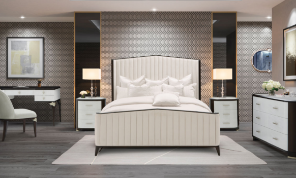 Channel-Tufted Panel Bed...