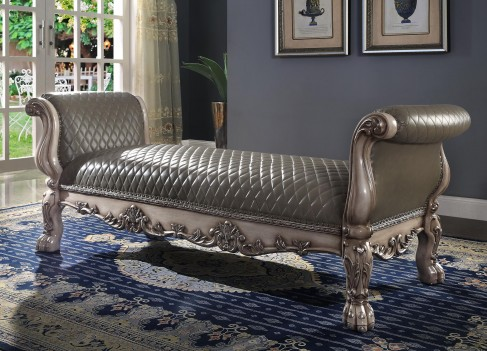 96590 Dresden Bench PU & Vintage Bone White by Acme Furniture