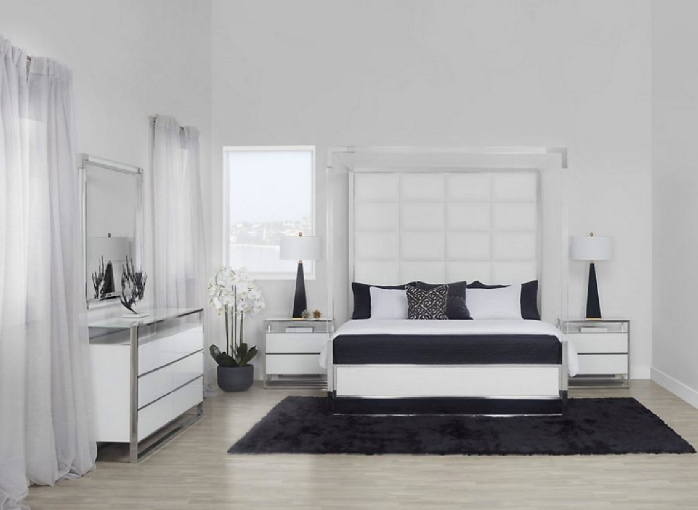 Canopy Bed Glossy White White State St Collection By Michael Amini