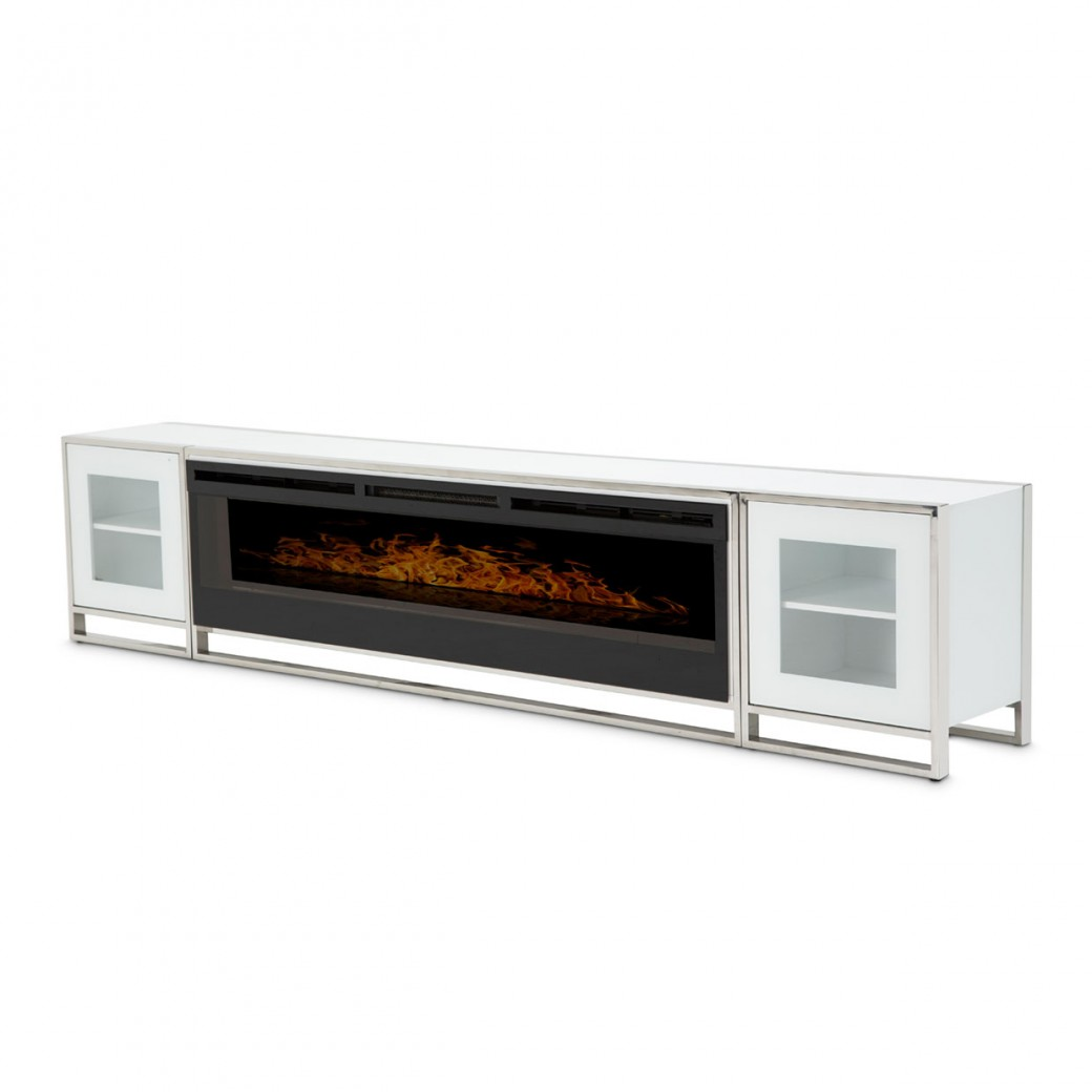 Aico State St. Fireplace TV Console W/Firebox Insert 110V (4pc) Glossy Whit