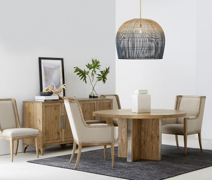 Round Dining Table Light Oak Finish Passage Collection By ART Furniture