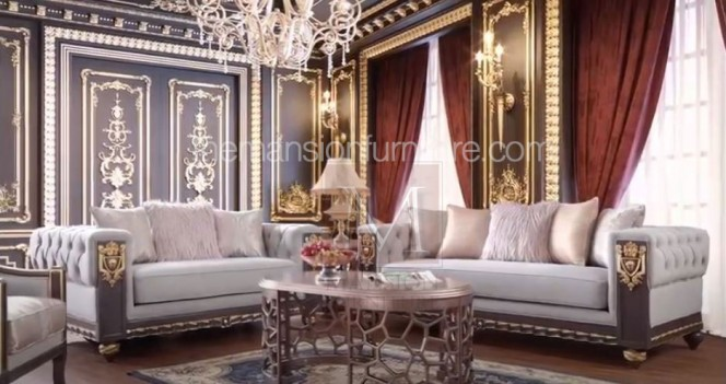 HD 6030 Homey Design Upholstery Living Room Set Victorian, European & Classic Design Sofa Set