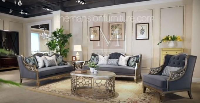 HD 701 Homey Design Upholstery Living Room Set Victorian, European & Classic Design Sofa Set