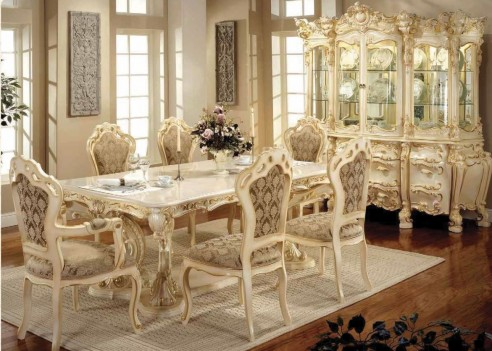 701 AM Luxury Marble Top 7 Pc Dining Table -French Provincial Style By Polrey International Furnishing