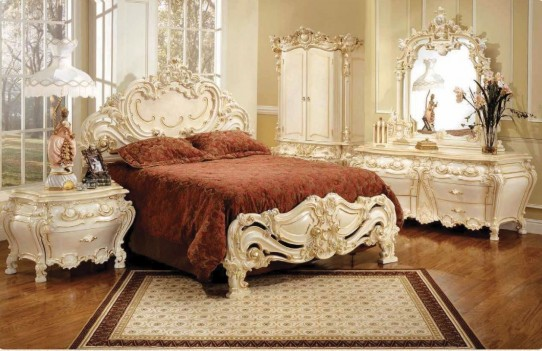 315 Ivory Finish Decorated Bed French Provincial Style By Polrey