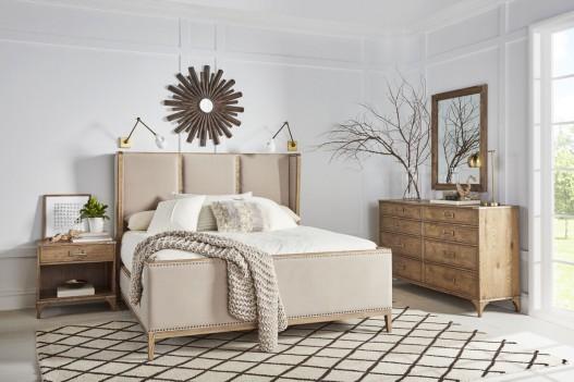 Upholstered Bed Light Oak...