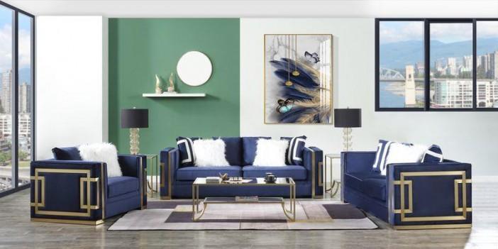LV00293 Blue Velvet & Gold...