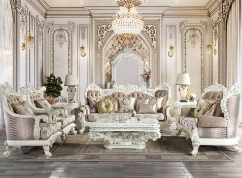 LV00803 Beige PU & Antique White Finish Victorian Style Living Room Vanaheim Collection By Acme Furniture
