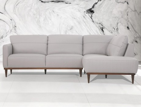 54970 Pearl Gray Leather Sectional Sofa Contemporary Acme Furniture Collections