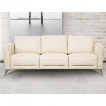 55005 Cream Leather Living Room Contemporary Acme Furniture Collections